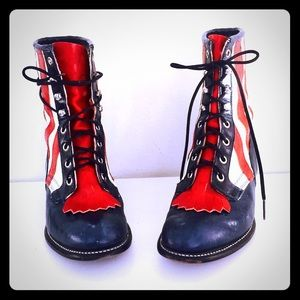 Vintage Lace Up Leather Ankle Boots 6.5